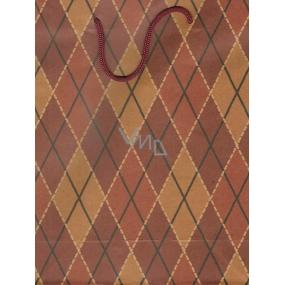 Nekupto Dárková papírová taška malá 349 KCM Hnědé káro 24,5 x 19 x 8 cm
