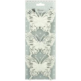 Motýli glitroví bílí s drátkem 10 cm 3 kusy