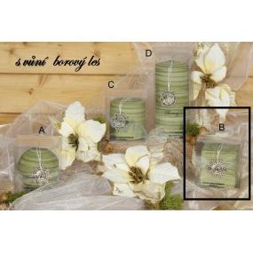 Lima Wellness Present Borový les aroma svíčka zelená krychle 65 x 65 mm 1 kus