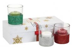 Yankee Candle Vonná svíčka votivní 49 g x 3 kusy + skleněné svícínky 3 kusy, vánoční dárková sada