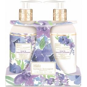 Baylis & Harding Šeřík a Anglická levandule tekuté mýdlo 300 ml + mléko na ruce 300 ml, kosmetická sada
