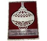 Albi Vánoční ornament s krystaly Swarovski na zavěšení s popisem - Bezva kolegyně, Přeji Ti svátky plné klidu a pohody, cca 7 x 8 cm