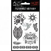 Arch Tetovací obtisky Černé Kvítí 9,5 x 16 cm