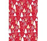 Ditipo Dárkový balicí papír 70 x 500 cm Červený bílé a zlaté stromky