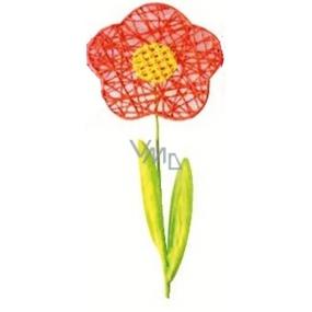 Květina velká oranžová proplétaná 49 cm