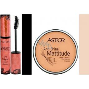 Astor Seduction Codes N2 Volume & Curve Mascara řasenka černá 10,5 ml + Astor Anti Shine Mattitude pudr 003 14 g, dárková sada