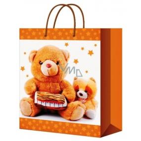 Anděl Taška vánoční dárková pro děti béžová,2 medvídci L 32 x 26 x 12,7 cm