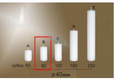 Lima Gastro hladká svíčka bílá válec 40 x 80 mm 1 kus