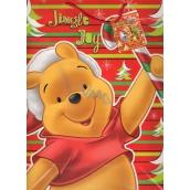 Ditipo Disney Dárková papírová taška dětská L Medvídek Pú Jingle Joy 26 x 13,5 x 32 cm