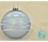 Irisa Baňky skleněné šedé metal, bílé zdobení, sada 7 cm 12 kusů