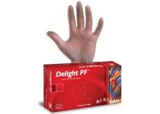 Aurelia Delight PF jednorázové vinylové rukavice bez pudru, bezbarvé, velikost XL box 100 kusů