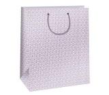 Ditipo Dárková papírová taška velká, bílá, růžový ornament 32,4 x 10,2 x 45,5 cm QXA