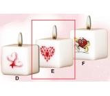 Lima Valentýnská svíčka 1 srdíčko svíčka s obtiskem bílá krychle 45 x 45 mm 1 kus