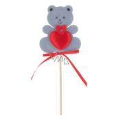 Medvídek z filcu se srdíčkem šedý zápich 6,5 cm + špejle
