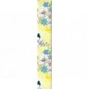 Ditipo Balicí papír žlutý s modrobílými květy 100 x 70 cm 2 kusy