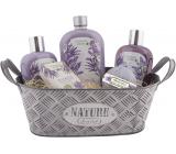 Bohemia Gifts Levandule plechová ošatka vlasový šampon 250 ml + sprchový gel 250 ml + koupelová pěna 500 ml + pěnivá koule 100 g + toaletní mýdlo 100 g + plechový box, kosmetická sada