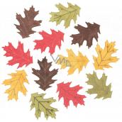 Listy dřevěné žluto-zeleno-červeno-hnědé 4 cm 12 kusů