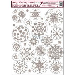 Okenní fólie bez lepidla bílo stříbrné kruhové hvězdy 42 x 30 cm