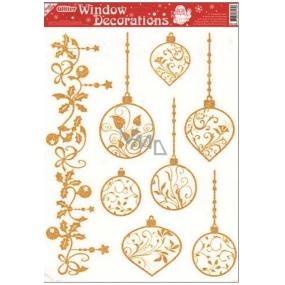 Okenní fólie bez lepidla se zlatými glitry 7 baněk 42 x 30 cm