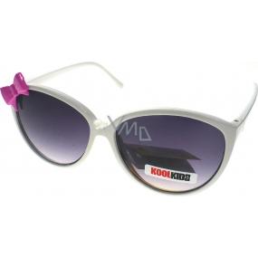 Dudes & Dudettes JK418 bílé - růžová mašlička sluneční brýle pro děti