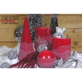 Lima Artic svíčka červená koule 80 mm 1 kus