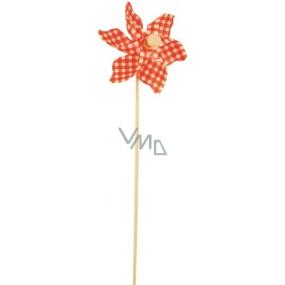 Větrník károvaný oranžový 9 cm + špejle 1 kus
