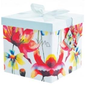 Dárková krabička skládací s mašlí 03 Květiny XS 10x10x10 cm