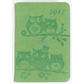 Albi Diář mini Zelené sovy 7,5 cm × 11 cm × 1,1 cm