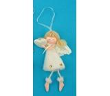 Anděl plyšový smetanový s nožkama na zavěšení srdce 14 cm