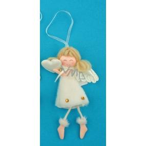 Anděl plyšový smetanový s nožkama srdce na zavěšení 14 cm