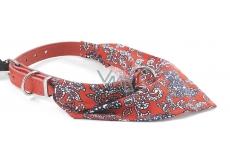 B&F Obojek kožený s bavlněným šátkem červeným 1,8 x 50 cm