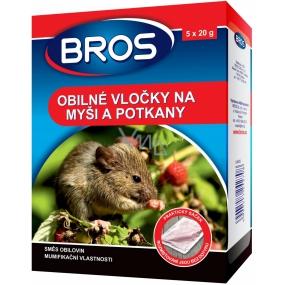 Bros Obilné vločky proti myším, krysám a potkanům 5 x 20 g