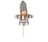 Panenka v šedém oblečku zápich 9 cm + špejle