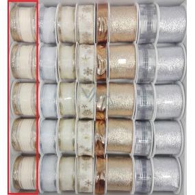 Ditipo Stuha látková s drátkem krémová se zlatým 2 m x 40 mm