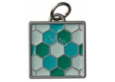 Yankee Candle Charming Scents kovový přívěsek ve tvaru tyrkysové mozaiky se stříbrným lemováním na visačku do auta Mosaic