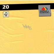 Fasana Papírové ubrousky barevné žluté 3 vrstvé 33 x 33 cm 20 kusů