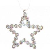 Hvězda kovová závěsná s kamínky 9 cm