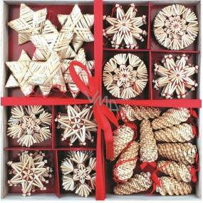 Slaměné dekorace v dřevěné krabičce se čtverci 56 kusů