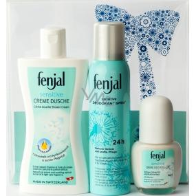 Fenjal Sensitive sprchový krém 200 ml + deodorant sprej pro ženy 150 ml + kuličkový deodorant roll-on pro ženy 50 ml, kosmetická sada
