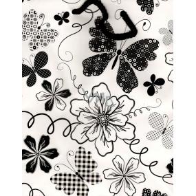 Nekupto Dárková papírová taška střední BM Bílá černý motýl a kytky 23 x 18 x 10 cm