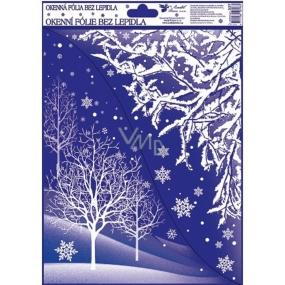 Okenní fólie bez lepidla Rohová s glitrem zimní krajina se stromy 42 x 30 cm
