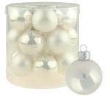 Sada skleněných baněk bílých 4 cm 18 kusů