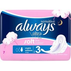 Always Sensitive Ultra Night hygienické vložky s křidélky 7 kusů