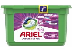 Ariel 3v1 Color & Style Complete Fiberer Protection gelové kapsle na praní barevného prádla 13 kusů 353,6 g