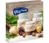 Big Soft Papírové ubrousky 2 vrstvé 33 x 33 cm 20 kusů Vánoční Svíčky, baňky, ořechy