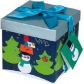 Dárková krabička s mašlí skládací vánoční tmavě modrá s modrou mašlí 1371 S 13 x 13 x 13 cm 1 kus