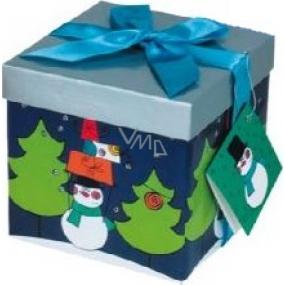 Anděl Dárková krabička skládací s mašlí vánoční tmavě modrá s modrou mašlí 1371 S 13 x 13 x 13 cm 1 kus