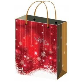 Anděl Taška vánoční dárková červená, bílé vločky XL 45,5 x 33 x 10,5 cm