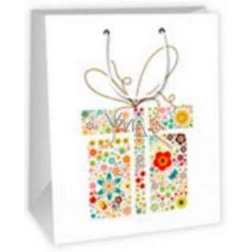 Ditipo Dárková papírová taška velká bílá - dárek ornamenty 26,4 x 13,6 x 32,7 cm AB