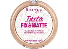 Rimmel London Insta Fix & Matte transparentní pudr 001 Translucent 8 g